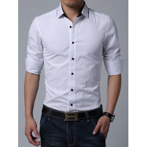 Turn-down Collar Long Sleeve Button Up Plain Shirt - White - L