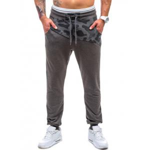 Drawstring Spliced Camo Jogger Pants