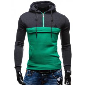 Color Splicing Zip Up Drawstring Pullover Hoodie - Green - Xl