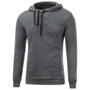 Side Zip Up Drawstring Pullover Hoodie - Gray - M