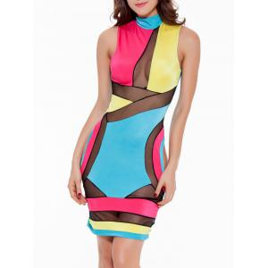Mock Neck Mesh Panel Colorful Club Dress