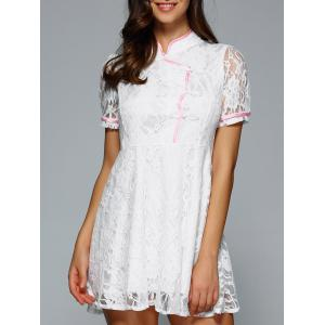 Mandarin Collar Short Sleeves Lace Dress