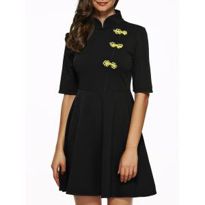 Mandarin Collar Half Sleeves Flare Dress - Black - S
