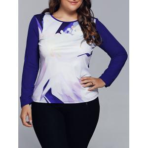 Spliced Abstract Print Raglan Sleeves T-Shirt - Blue - 2xl