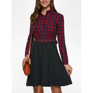 Long Sleeve Plaid Splicing Shirt Dress