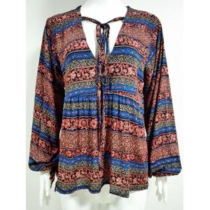 Drawstring V Neck Tribal Blouse