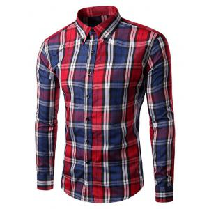 Slim Fit Long Sleeve Button-Down Checked Shirt - Red - M