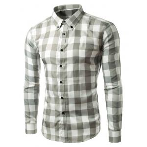Slim Fit Long Sleeve Grid Button-Down Shirt - Gray - M
