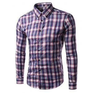Turn-down Collar Long Sleeve Gingham Shirt