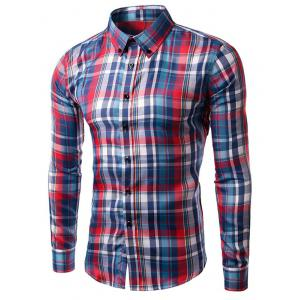 Turn-down Collar Long Sleeve Plaid Shirt