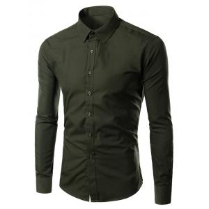 Turn-down Collar Long Sleeves Plain Shirt