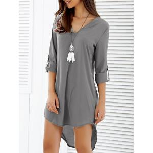 Asymmetrical V Neck Casual Knee Length Going Out Dress