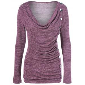 Side Button Cowl Neck Knitted Long Sleeve Sweater - Colormix - L