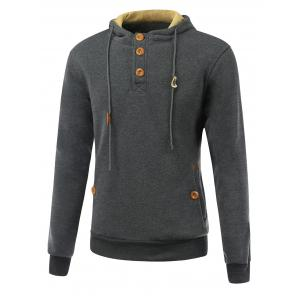Elbow Patch Long Sleeve Drawstring Pullover Hoodie - Deep Gray - L