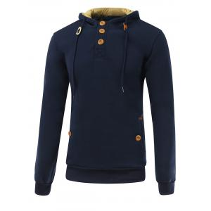 Elbow Patch Long Sleeve Drawstring Pullover Hoodie - Deep Blue - L