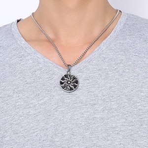 Polished Embellished Sun Pendant Necklace - Silver