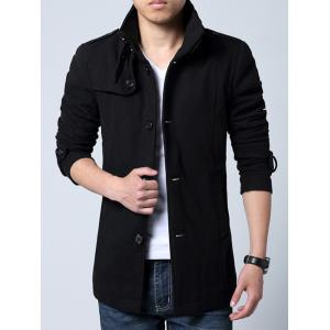 Epaulet Embellished Single-Breasted Stand Collar Woolen Coat