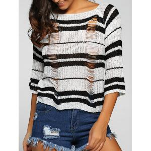 Round Neck Striped Jumper Ripped Sweater