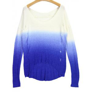 V Neck High Low Ombre Ripped Sweater