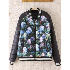 Striped Hem Floral Print Plus Size Quilted Bomber Jacket - Black - Xl