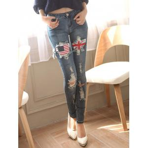 Stretchy Broken Hole Flag Patch Design Jeans -