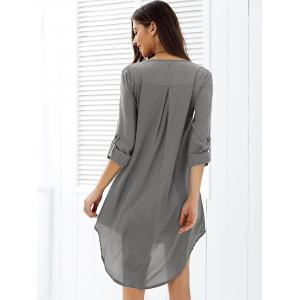 Asymmetrical V Neck Casual Knee Length Going Out Dress -