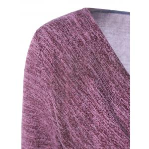 Side Button Cowl Neck Knitted Long Sleeve Sweater - COLORMIX M