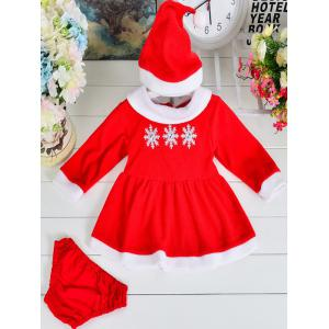 Snow Long Sleeve Dress + Briefs + Hat Christmas Set - Red - 80