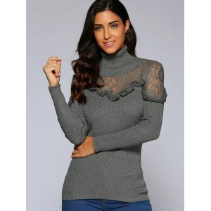 Concise Ruffle Lace Splice Close-Fitting Knitwear - GRAY L