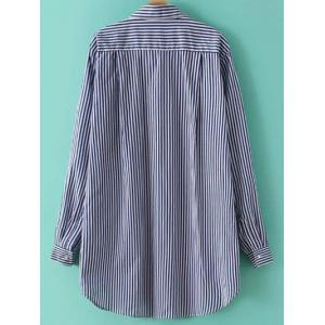 Striped Floral Embroidered Button Up Shirt - STRIPE L