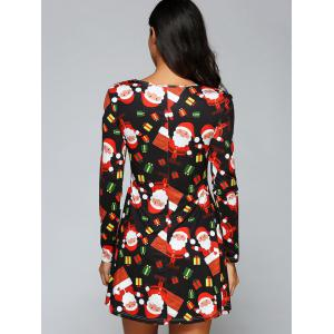 Long Sleeve Gift Print Xmas Swing Dress - BLACK S