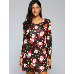 Stylish Round Neck Long Sleeve Christmas Gift Print Women's Dress - BLACK S