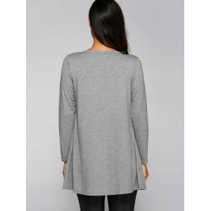 Collarless Long Sleeve Buttoned Loose Cardigan -