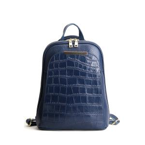 Crocodile Embossed Metal Leather Backpack - Blue - 40