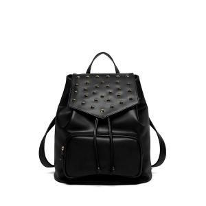 PU Rivet Drawstring Backpack - Black - 38