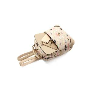 Cartoon Cat Print Metallic Hasp Backpack - APRICOT