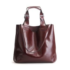 Leather Buckles Embellished Tote Bag - Coffee