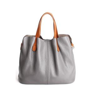 Textured Leather Stitching Tote Bag