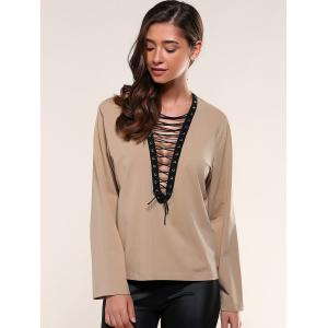 Lace-Up Eyelet Blouse -