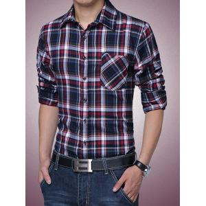 Long Sleeves Button Up Fleece Lined Checked Shirt -