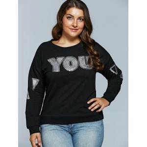 Letter Applique Loose Sweatshirt -