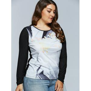 Spliced Abstract Print Raglan Sleeves T-Shirt - BLACK 5XL