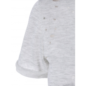 Ripped High-Low Cropped T-Shirt - GRAY XL