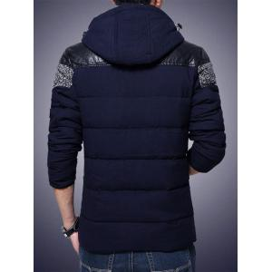 Plus Size Hooded PU-Leather Splicing Zip-Up Cotton-Padded Jacket - CADETBLUE 5XL