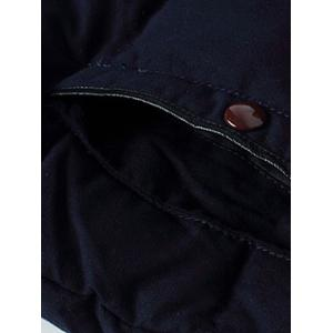 Plus Size Hooded PU-Leather Splicing Zip-Up Cotton-Padded Jacket -