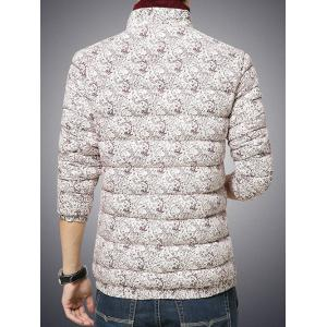 Plus Size Stand Collar Paisley Print Zip-Up Cotton-Padded Jacket -
