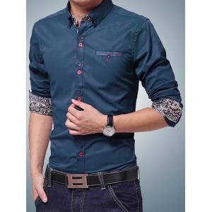 Embroidered Paisley Print Lining Button-Down Shirt - SAPPHIRE BLUE L