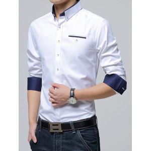 Long Sleeve Plush Lining Button-Down Shirt -