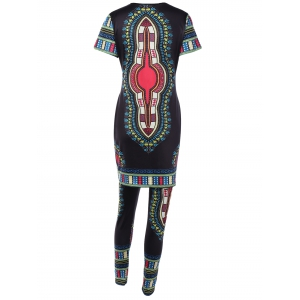 Ethnic Style Printed T-Shirt and Skinny Pants -
