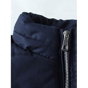 Plus Size Stand Collar Geometric and Letter Print Zip-Up Cotton-Padded Jacket -